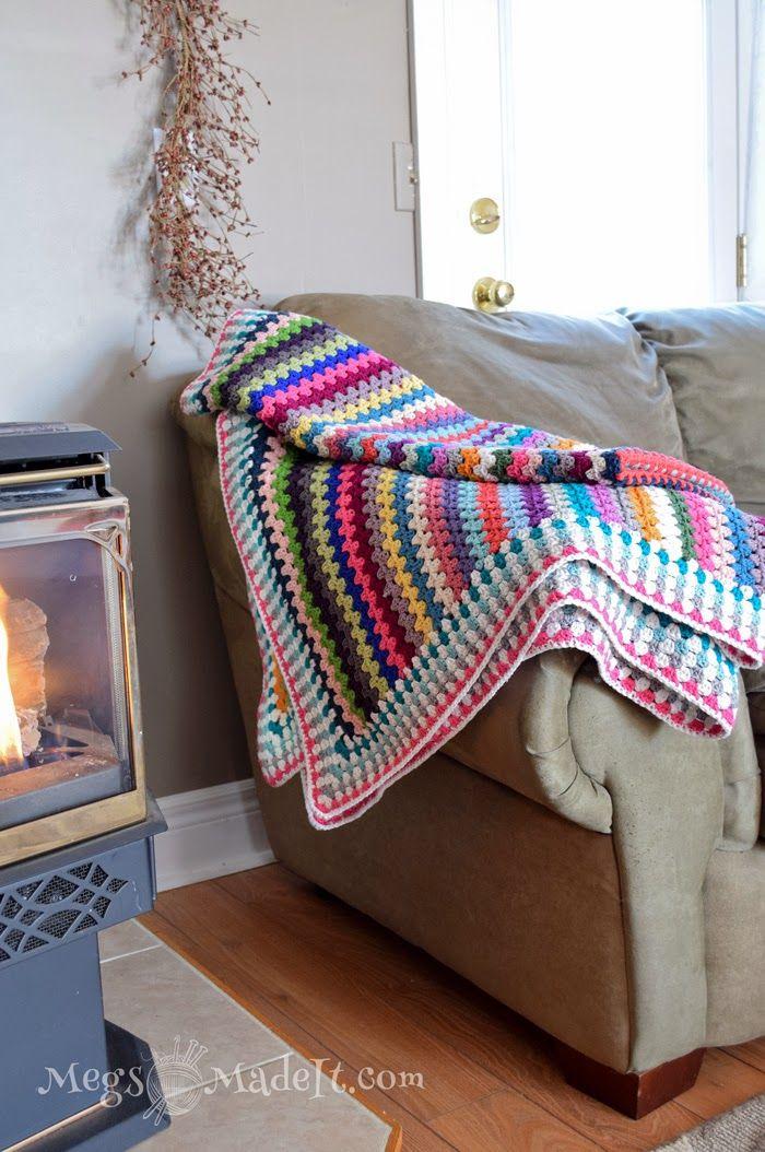 Granny Stripe Blanket With Pattern Crochet Pinterest Granny