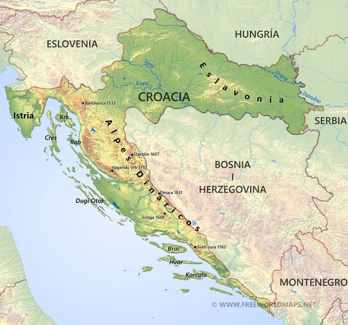 Croacia Mapa Serbia Map Montenegro