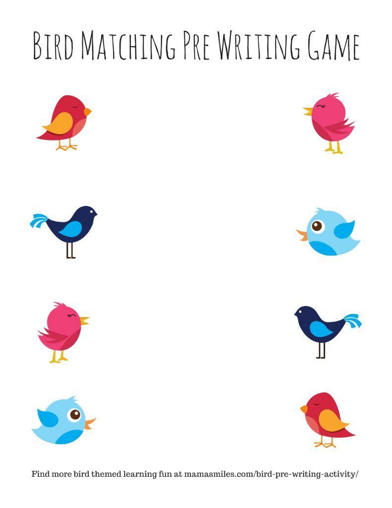 Bird Pre Writing Activity And More Bird Themed Activities Pre Writing Activities Birds Kindergarten Activities Preschool Activities