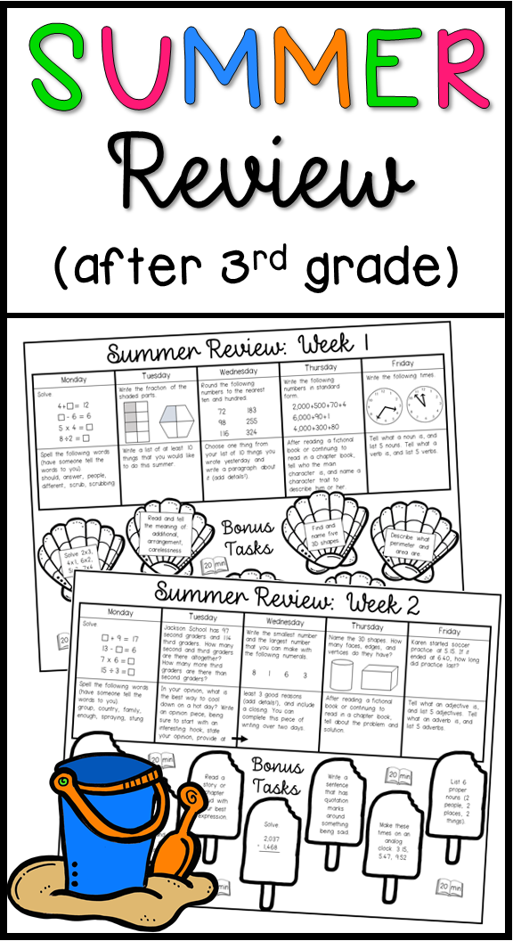 Summer Review Activities For After Third Grade Math And