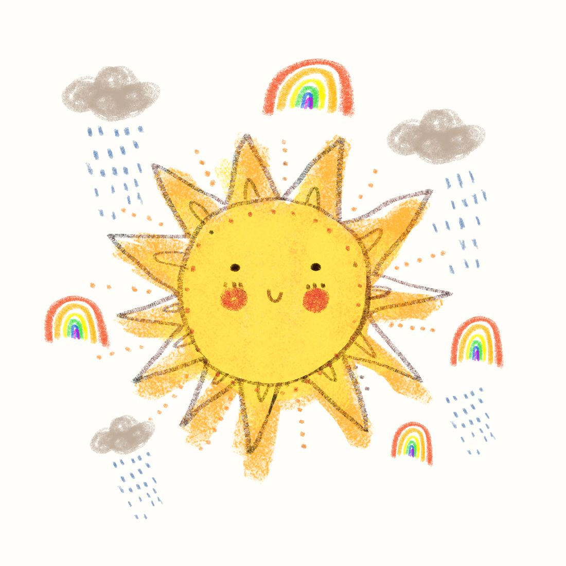 Without The Rain There Would Be No Rainbow Cute Drawings Sun