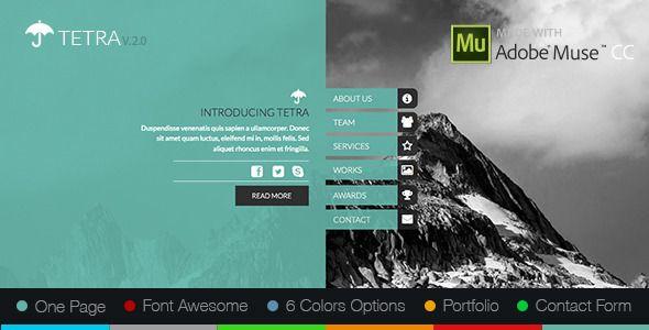 Tetra Adobe Muse Template Adobe Muse Pinterest Adobe muse