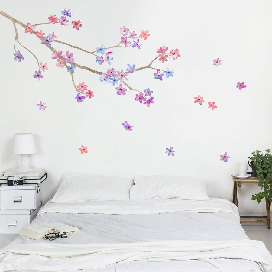 blossom branch wall sticker girl bedroom walls wall on wall stickers id=75861