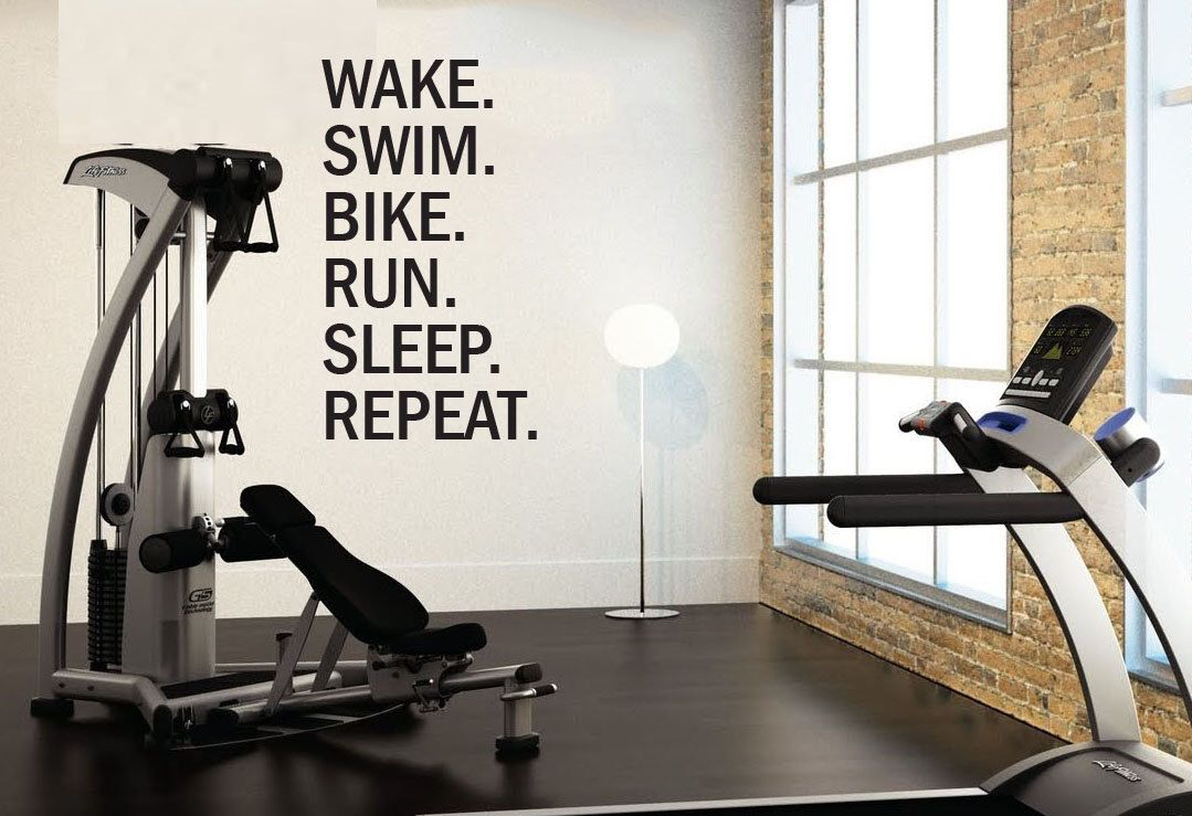 Triathlon Motivational Wall Decal. Wake. Swim. Bike. Run. Sleep ...