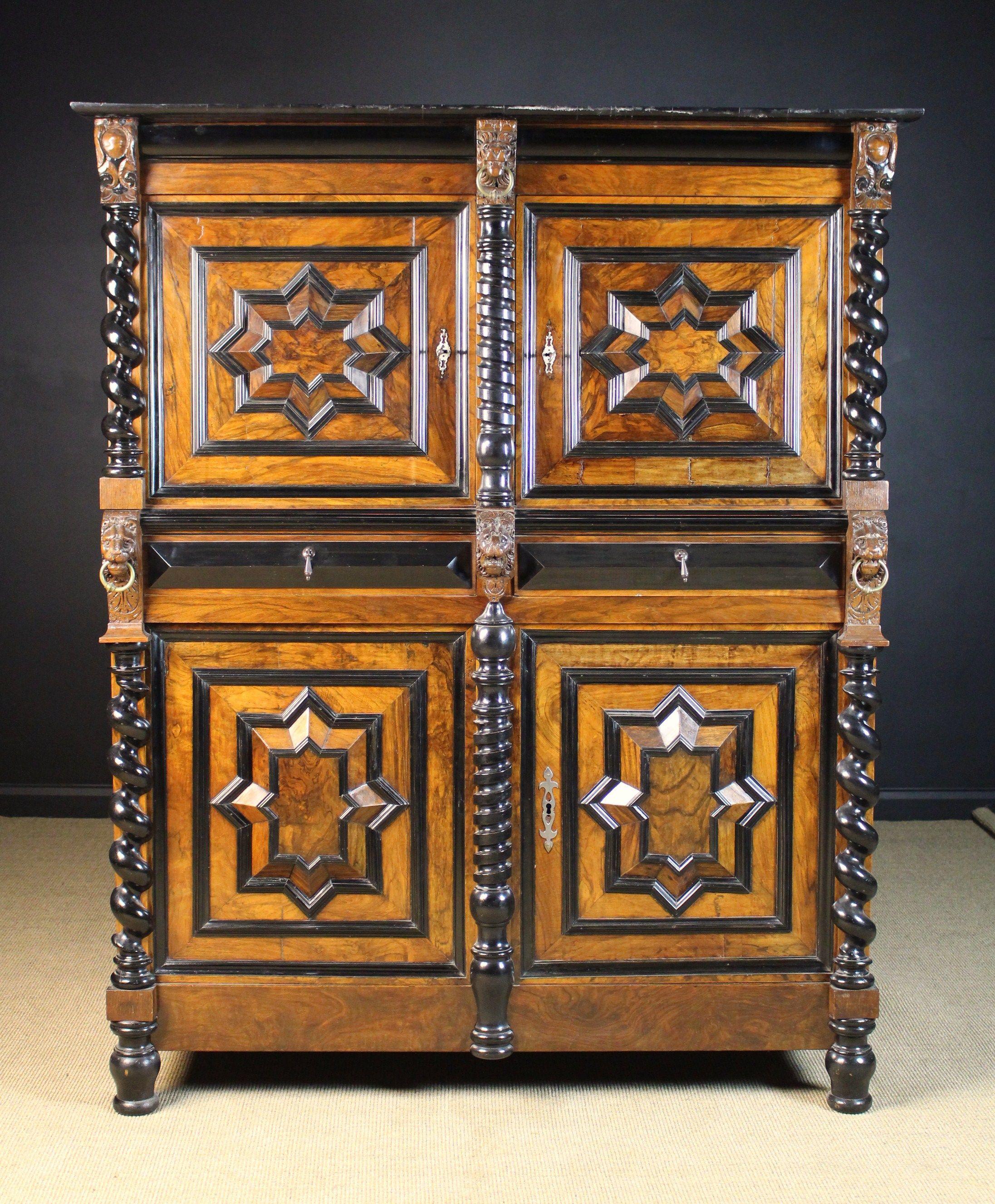 A 17th Century Antwerp Two Part Cupboard Clad In Figured Walnut Veneers Walnut Veneer Veneers Antiques
