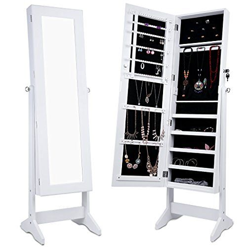 LANGRIA Free Standing Lockable Full Length Mirrored Jewelry Cabinet Armoire with 4 Angle Adjustable Organizer Storage for Rings, Earrings, Bracelets, Broaches, White Finish, http://www.amazon.com/dp/B01FMAXC34/ref=cm_sw_r_pi_awdm_x_r7O4xb7A8X8X5
