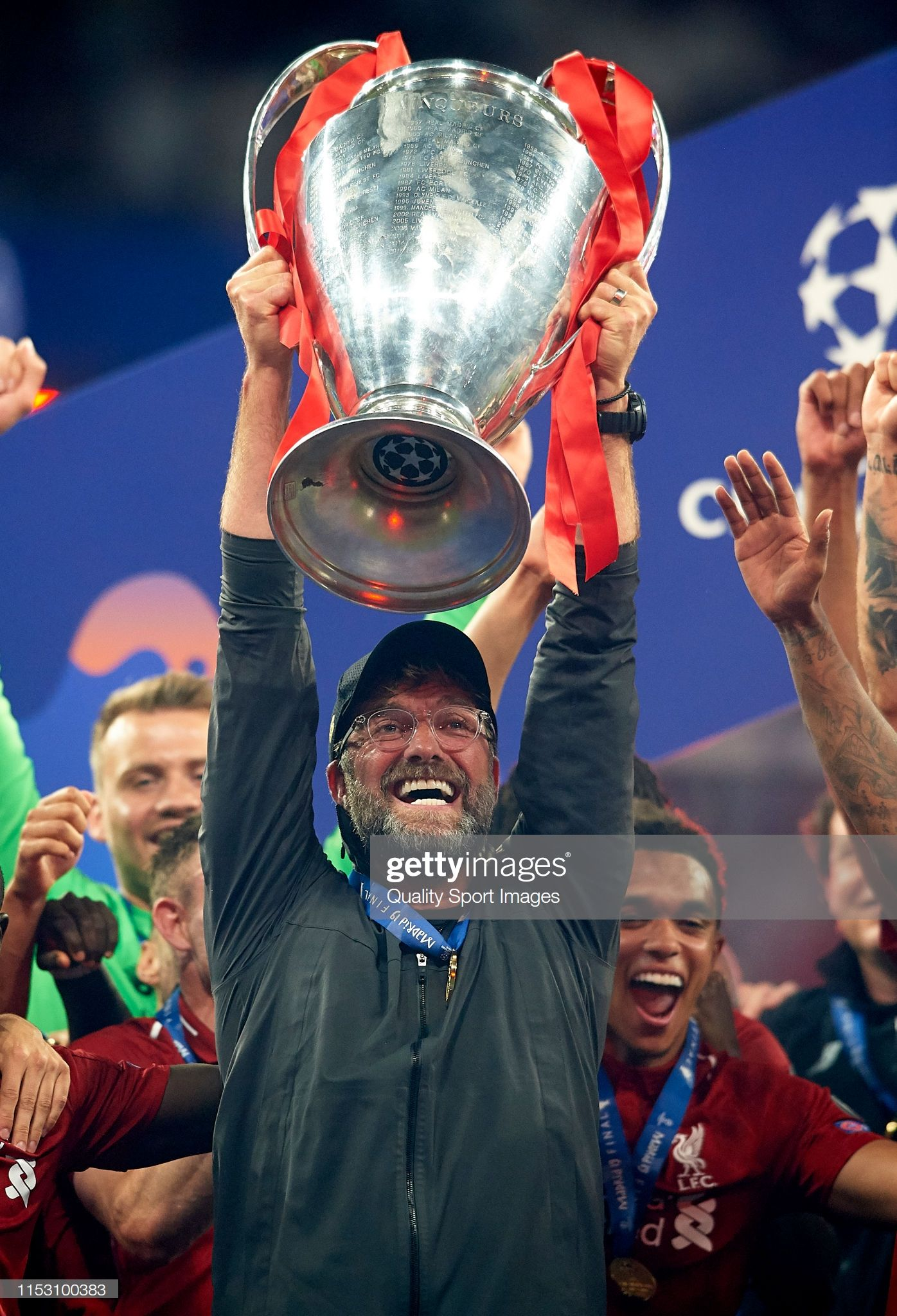 Jurgen Klopp Manager of Liverpool celebrates with the