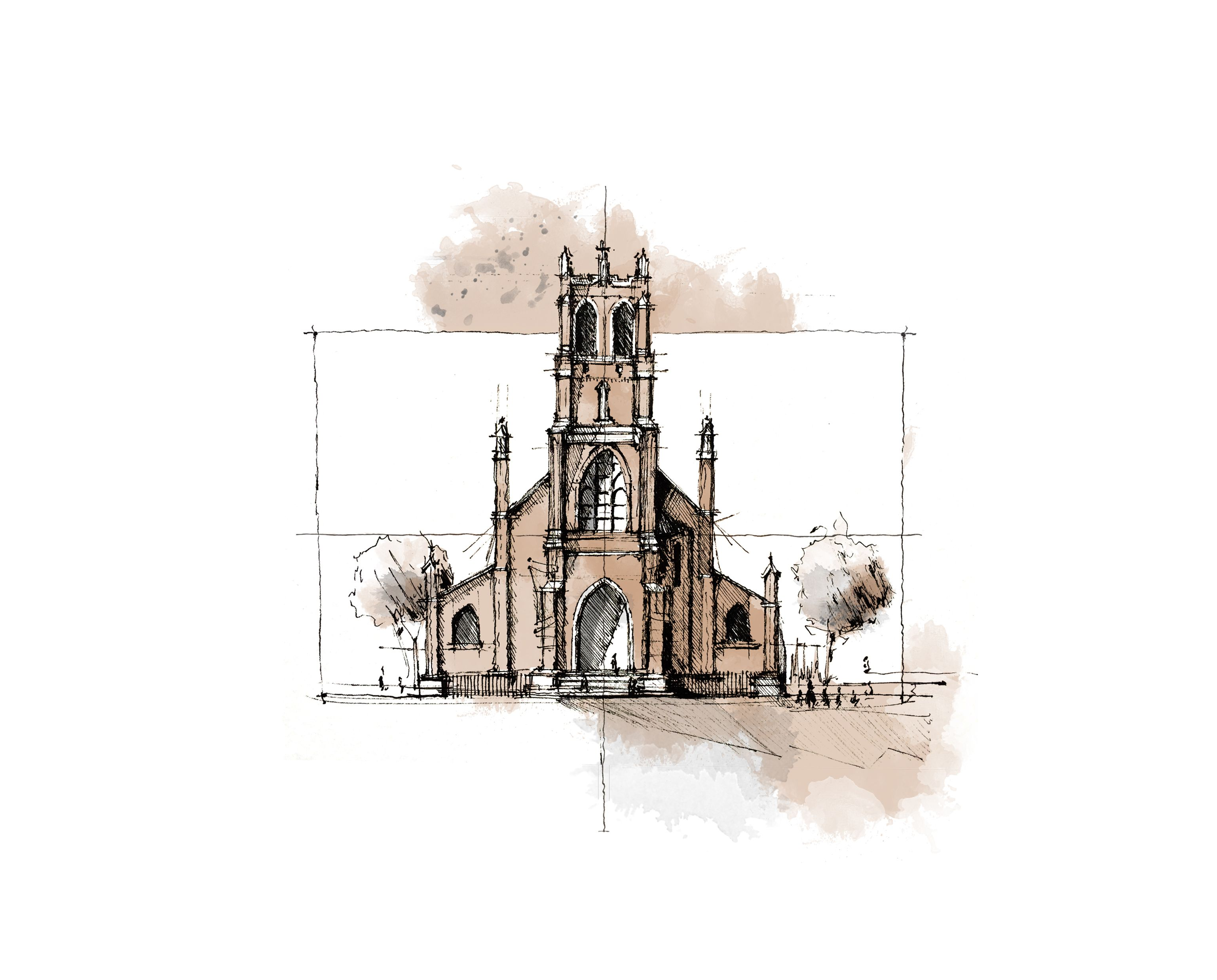Watercolor of the gorgeous St. Patrick\'s Church in San Francisco, CA ...
