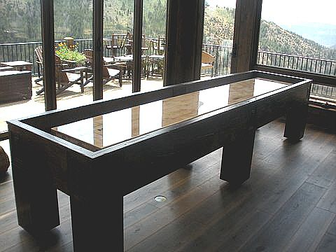 12u0027 Shuffleboard Table With Simple Clean Lines   Built In Distressed Knotty  Alder. Shuffleboard TableGame Room BarKnotty ...