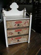 Ancien petit meuble à couture 3 boites - dentelles - rubans ...