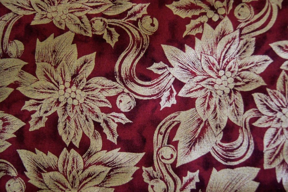 "Over 3 Yds Shinny Gold Flowers on Red Christmas Cotton Fabric 117"" X 45""   #5thAvenueDesigns"