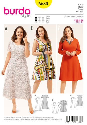 Burda Style Pattern 6680 Women\'s Dress | plus size | Pinterest ...