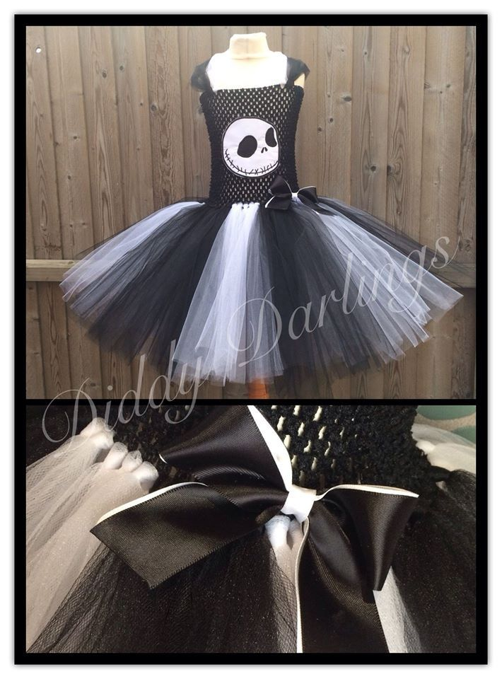 Jack Skellington Tutu Dress. Beautiful & lovingly handmade. Price varies on size, starting from £25.  Please message us for more info. Find us on Facebook www.facebook.com/DiddyDarlings1 or our website www.diddydarlings.co.uk