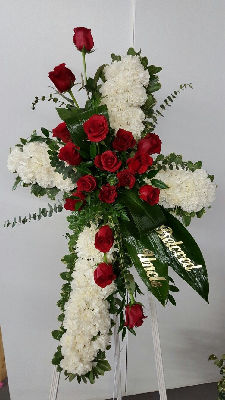 Standing Cross With Carnations And Roses Flower Arrangements Diy Funeral Flower Arrangements Flower Arrangements Diy Vase