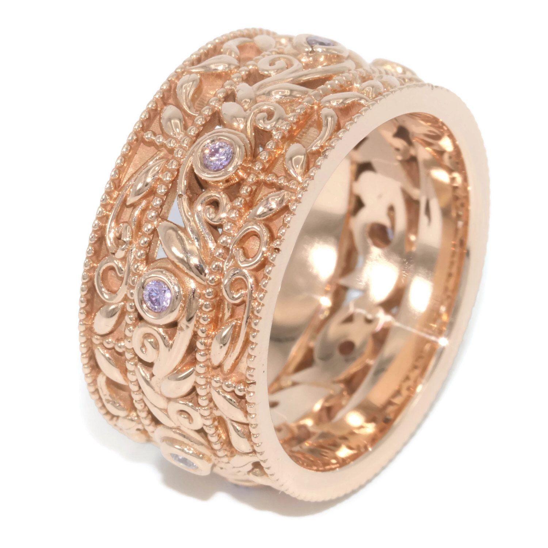 Pink Diamond Wedding Ring, Woodland Wedding Ring, 10 mm