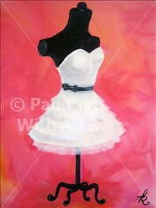 Little White Dress - Painting with a Twist (the mannequin is too harsh, with a longer/less wide skirt).  I think i'd like a blue-purple background color.