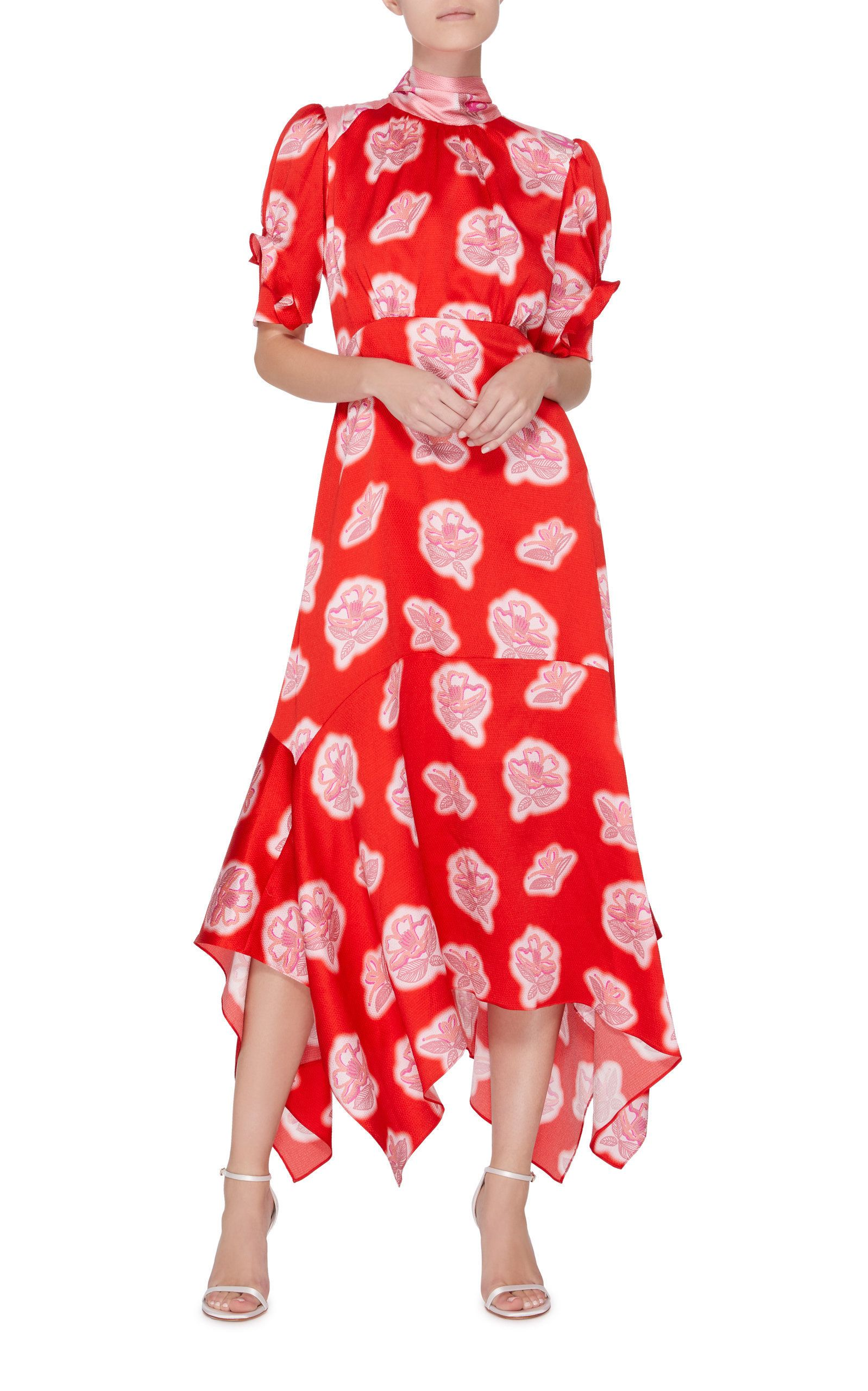 d4efeb3a8ab8f2 Peter Pilotto Floral High Neck Silk Midi Dress