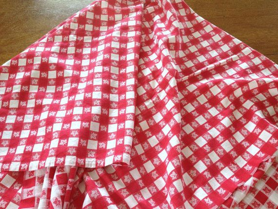 Vintage Red White Woven Gingham Cotton Tablecloth By AStringorTwo, $24.00
