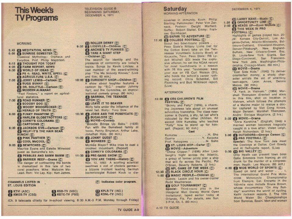 old tv listings
