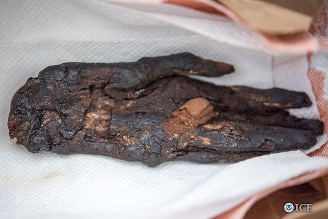Stolen Mummy Hand Makes Its Way Home. Illegally smuggled artifacts, including a mummy hand, were returned to Egyptian authorities.