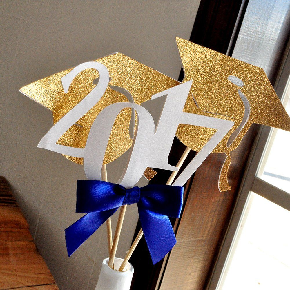 2018 Graduation Centerpiece Set Of 3 Sticks Royal Blue Decorations Handmade In 1 Business Days Party Decor