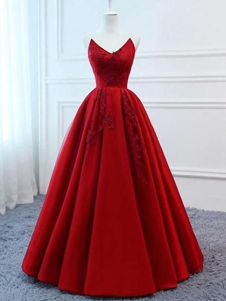 Roter V-Ausschnitt A-Linie Benutzerdefinierte lange Abendkleider CR 2609   – ++Long Party Dresses++