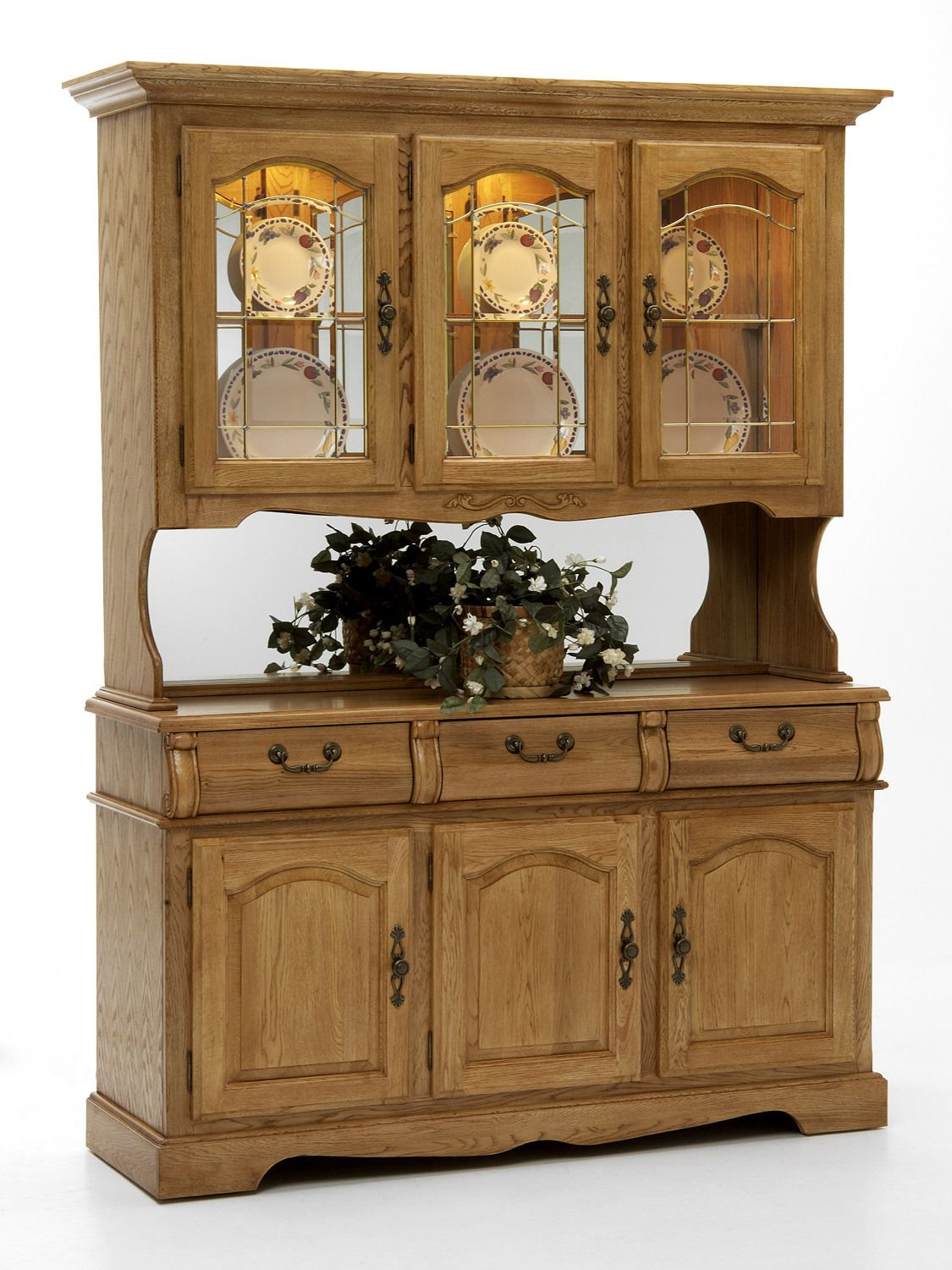 "Classic Oak 58"" Buffet W 60"" Hutch W Lightingintercon  Home Beauteous Narrow Dining Room Hutch Review"