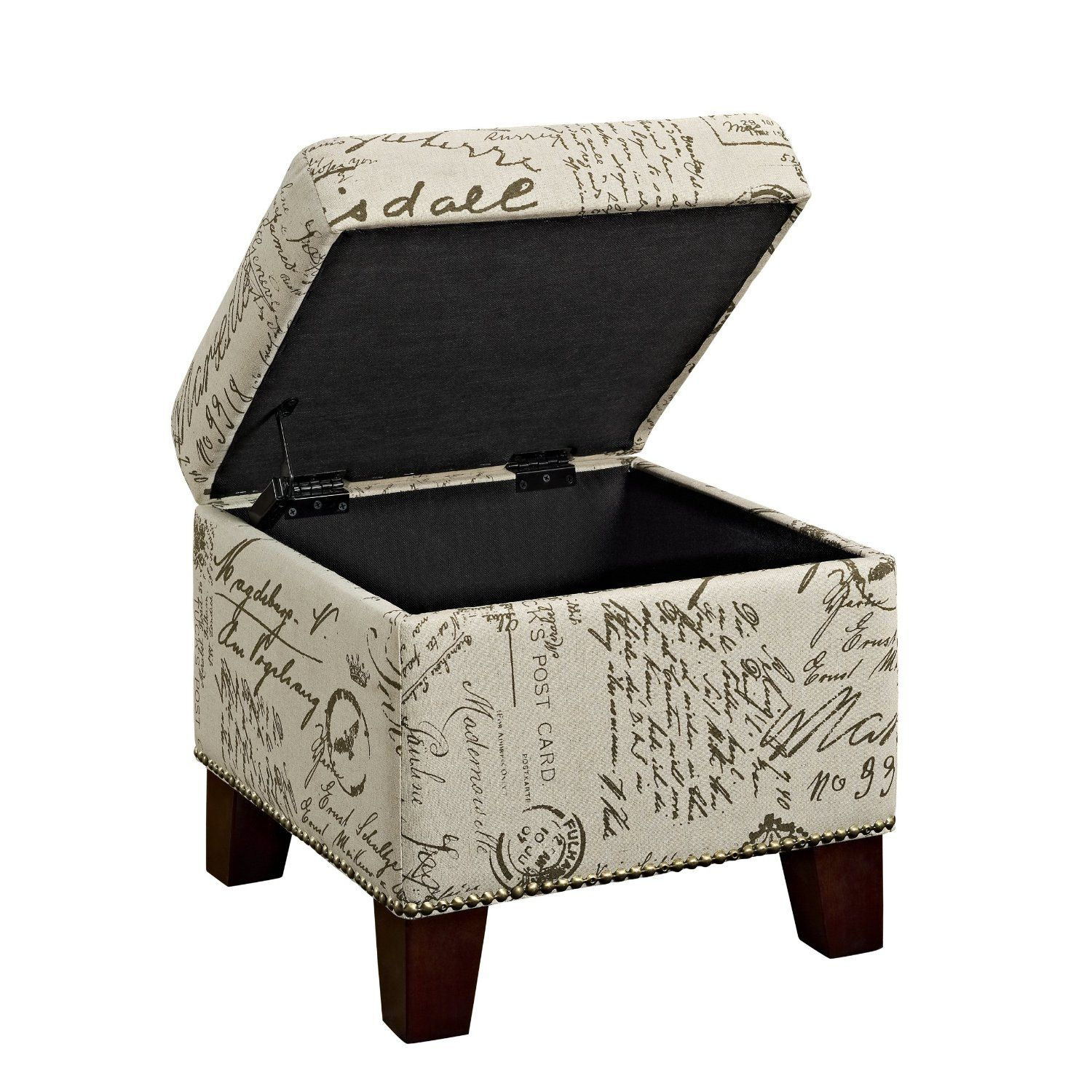 Dorel Living Script Cube Ottoman With Storage Versatile Cube Storage Ottoman  With Convenient Hinged Top Antique Look Nail Head Trim Upholstered In An ...