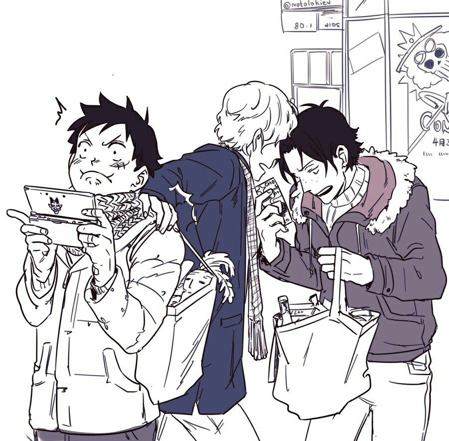 Ace, Sabo, Luffy, brothers, funny, bag, playing, videogames