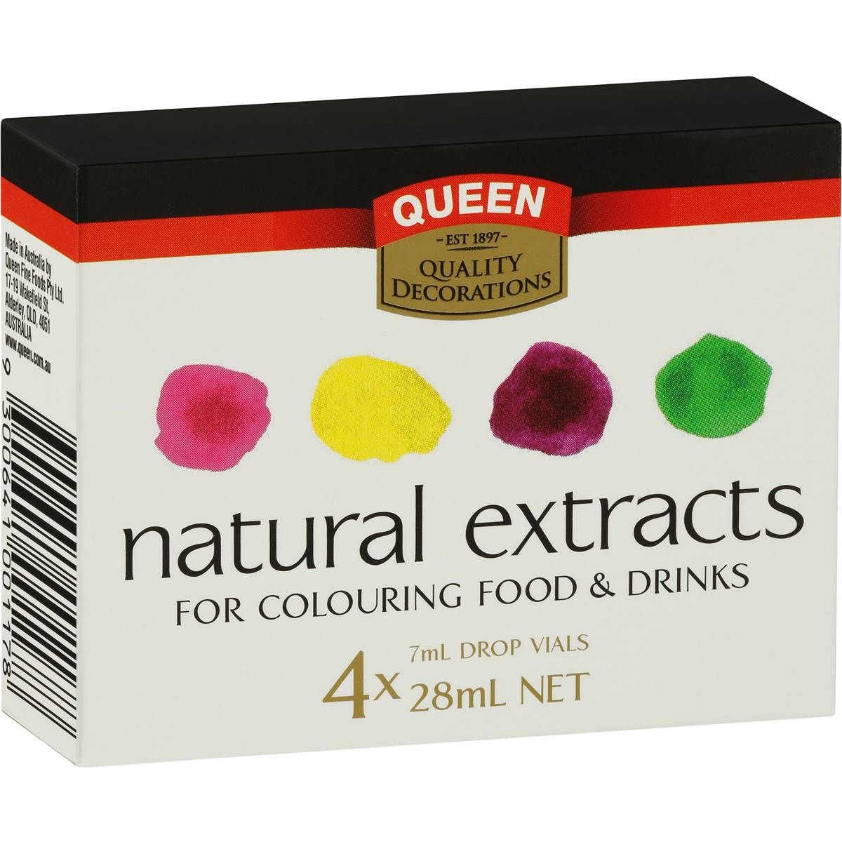 Queen Natural Food Colouring Rainbow 4x7ml