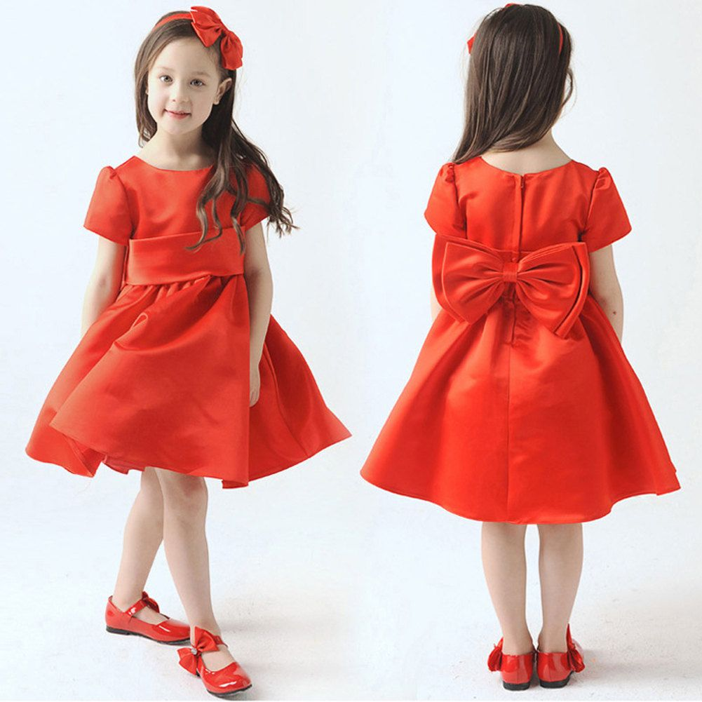 H wedding active red simple sash flower girl dress toddler baby