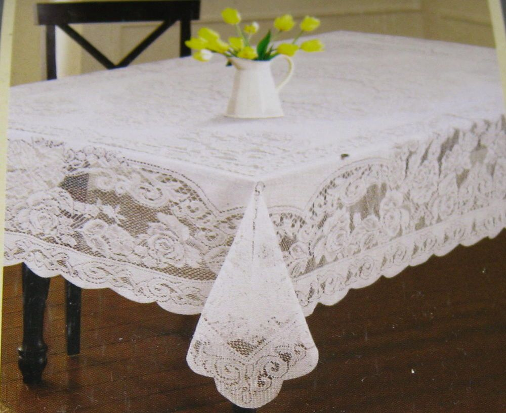 Floral Lace Tablecloths  Assorted Sizes  White And Cream  100% Polyester |  Floral Lace, Floral And Kitchen Dining