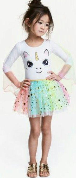 Little Girl Unicorn Bras Outfit With Rainbow Tutu Birthday Parties