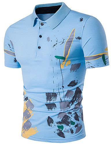 16 49 Men S Street Chic Cotton Polo Print Shirt Collar Gray L Short Sleeve Summer Printed Polo Shirts Mens Outfits Polo T Shirts