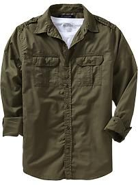 Men's Slim-Fit Military-Style Shirts