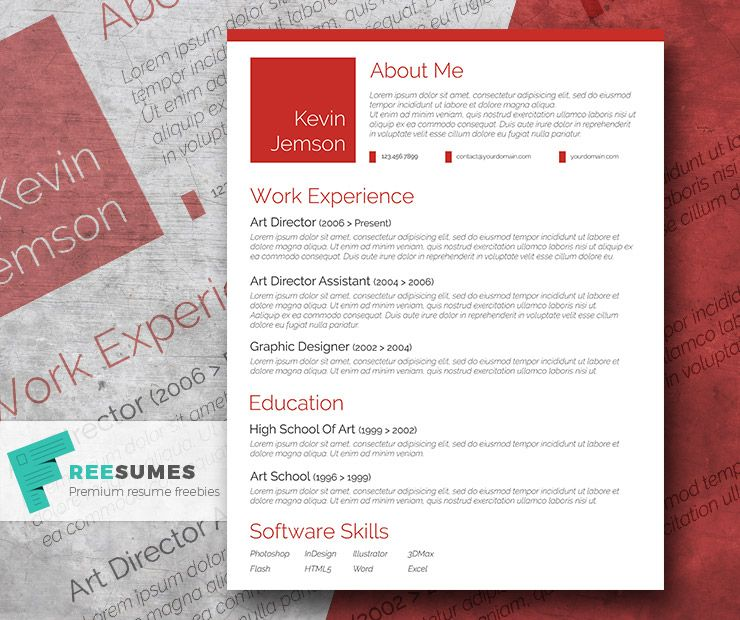 Creative in Red u2013 A Free Elegant CV Template Cv template - art resume template