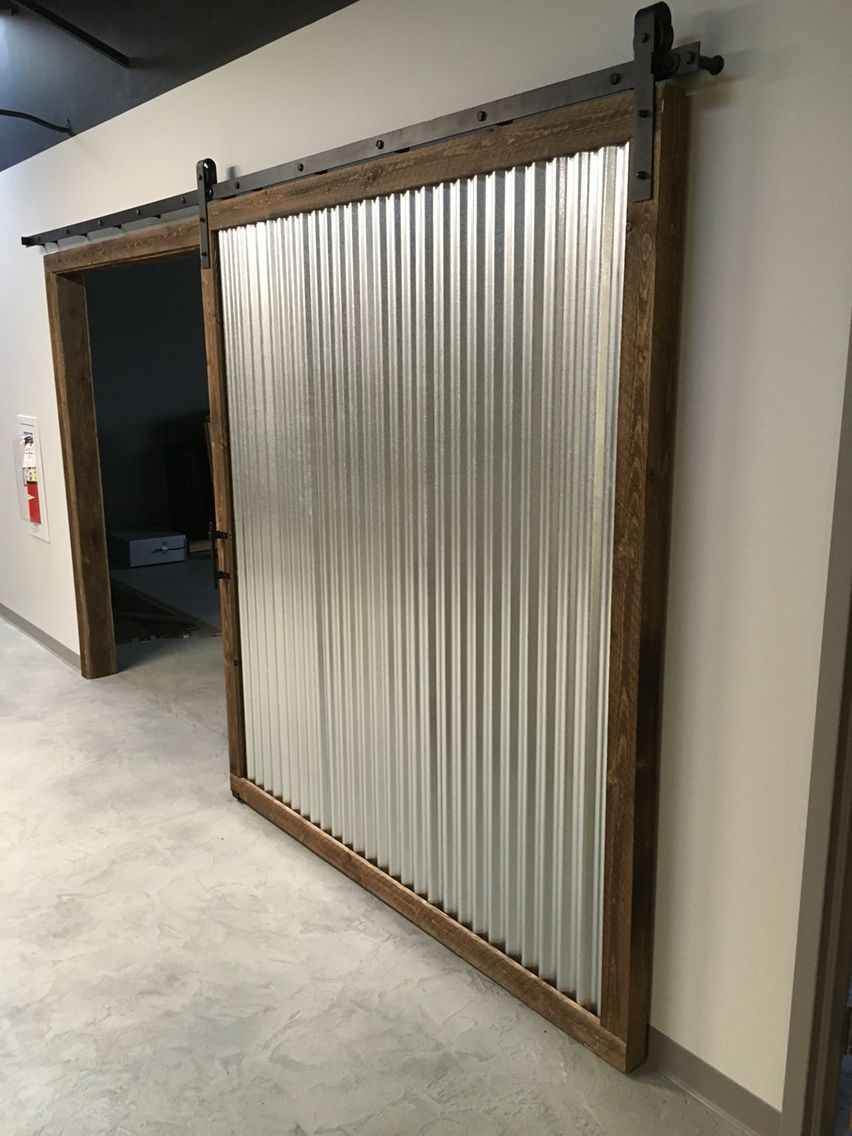 Corrugated Metal And Rough Sawn Ship Lapped Wood Sliding Barn Door