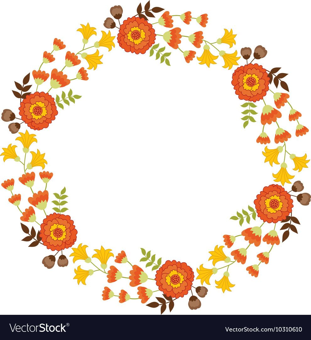 Autumn Floral Wreath Royalty Free Vector Image