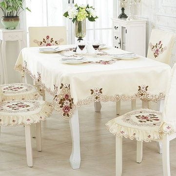 European Pastoral Flower Lace Embroidered Tablecloth Table Cloth PVC