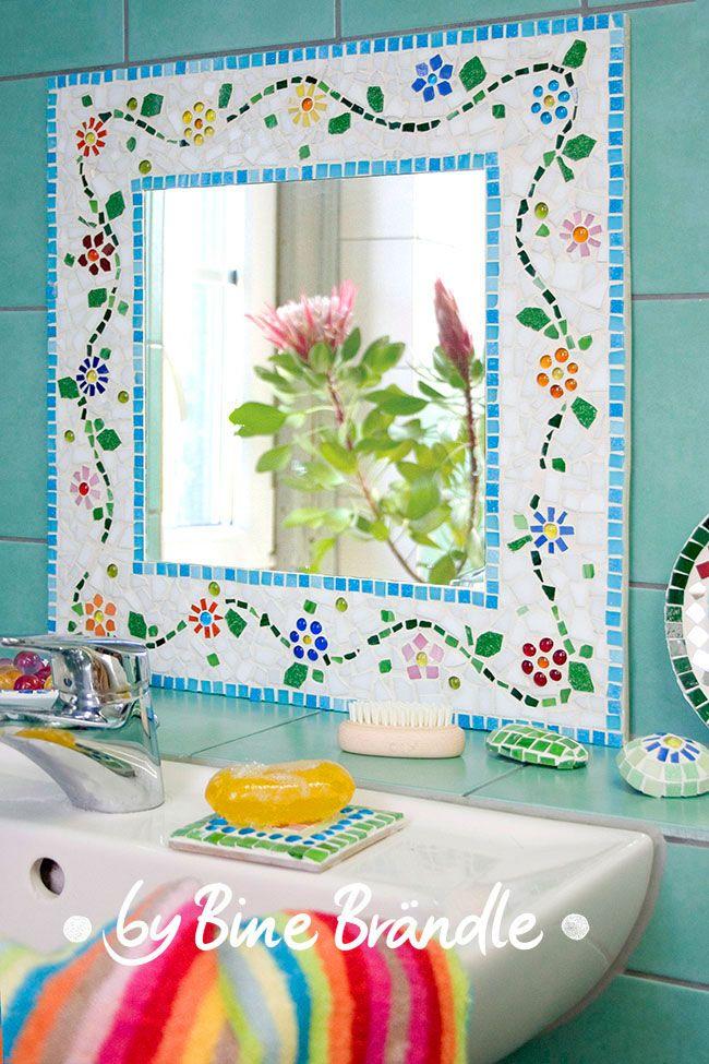 Mosaikspiegel mit zarter Blumenranke selber machen. Idee und ...