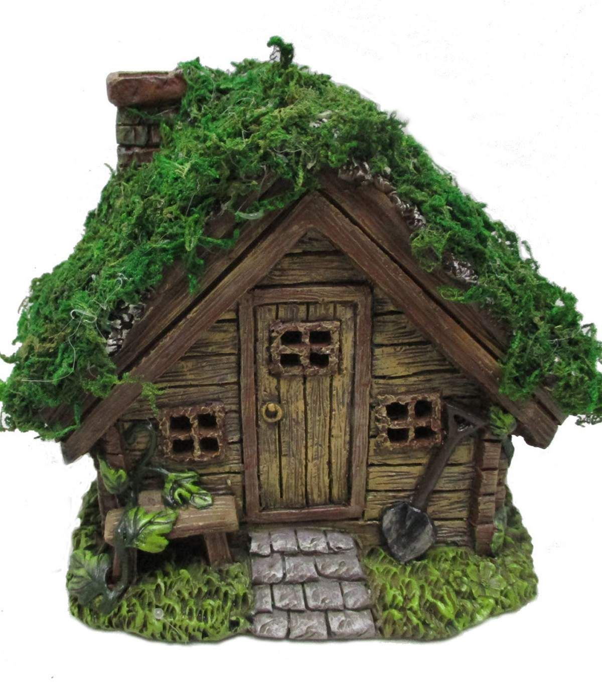 Bloom Room Littles Resin Wood House With Moss Roof Clay Fairy House Fairy House Diy Fairy Houses