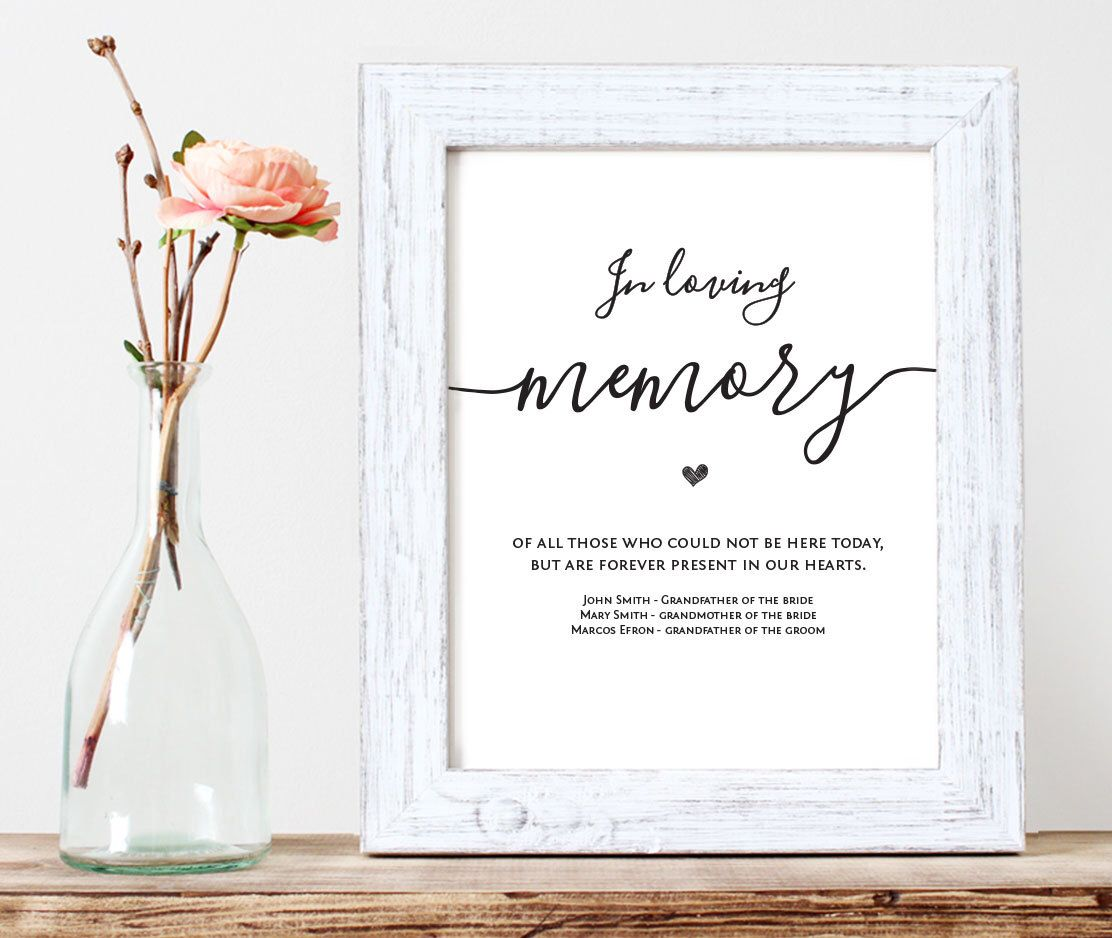In Loving Memory Printable Wedding Memorial Table Sign Etsy Memory Table Wedding Wedding Memory Table Sign Wedding Memorial