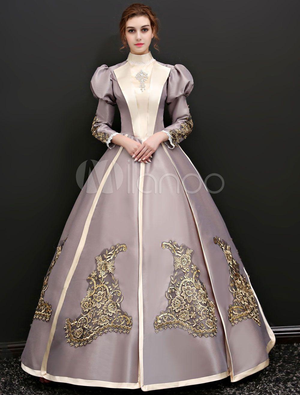 Victorian Era Costume Women 39 S Halloween Silver Grey Dresses Victorian Dress Costume Ball Gowns Vintage Gowns [ 1316 x 1000 Pixel ]
