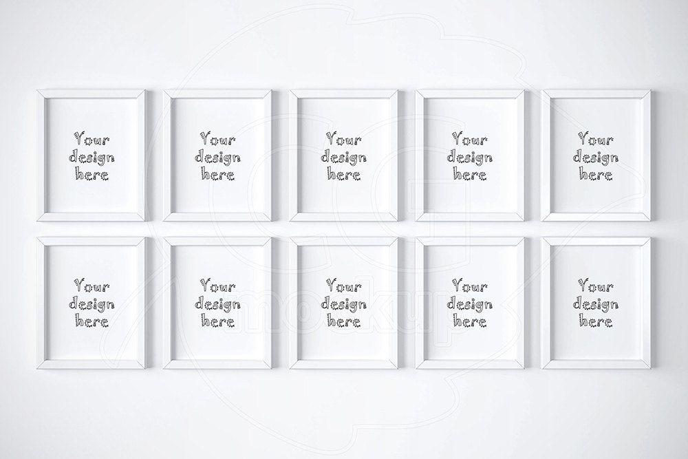 White frame mockup, 8x10 mockup, Set of 10 frame, Digital product ...