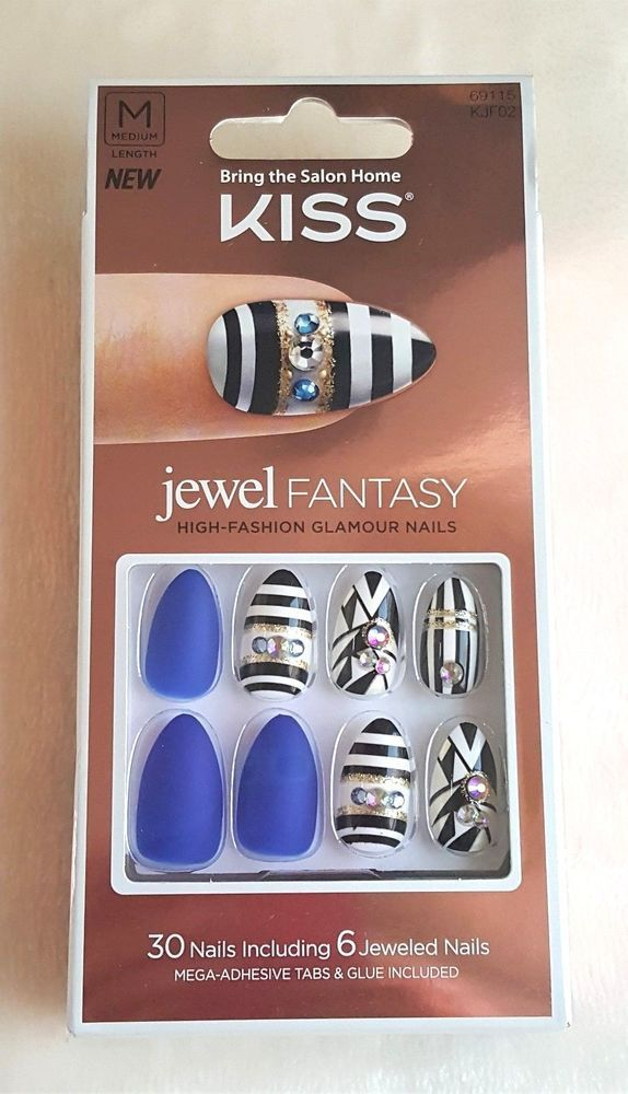 KISS JEWEL FANTASY High-Fashion Glamour 30 Nails + 6 Jeweled Nails ...