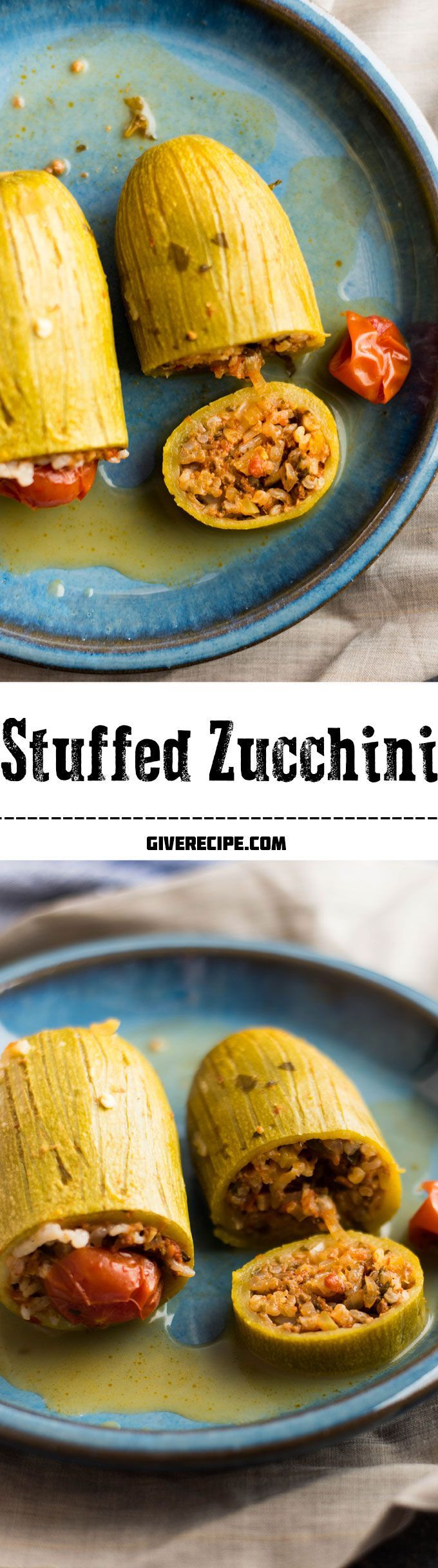 The BEST thing to make with zucchini is to stuff it. This zucchini is stuffed with a spicy mixture of rice and ground beef. You can turn it into a great vegan recipe by leaving the ground beef out. | http://giverecipe.com | #zucchini
