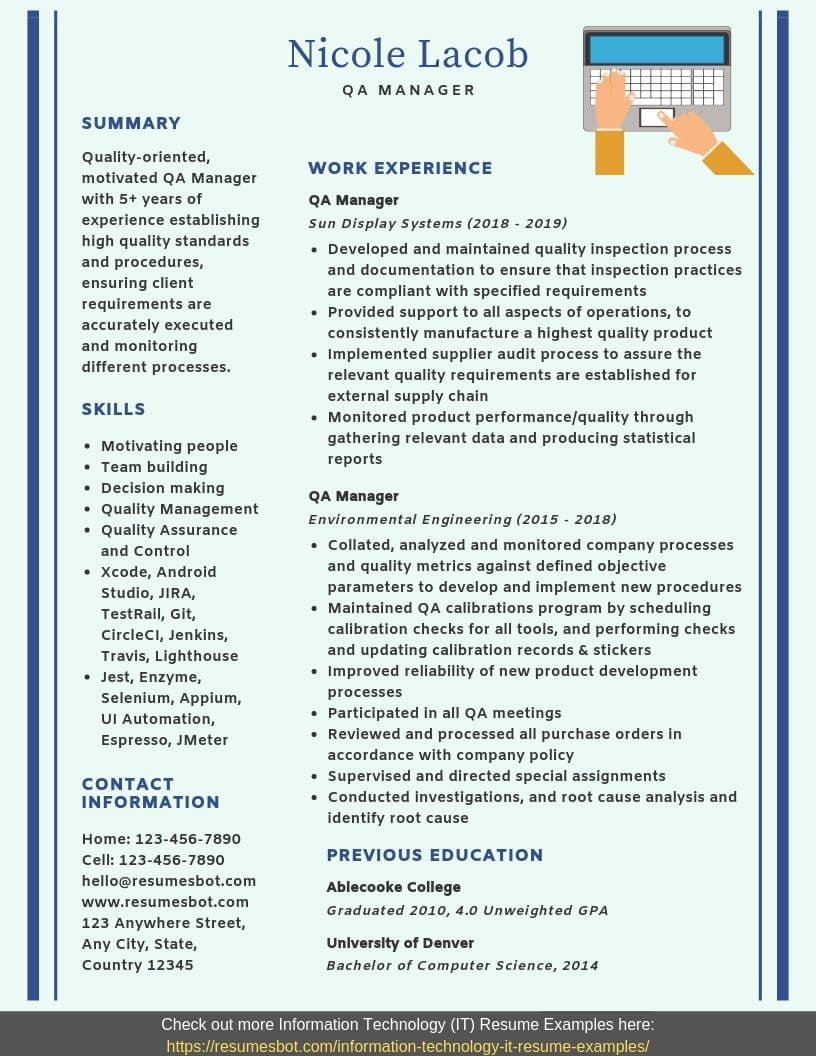 QA Manager Resume Samples & Templates [PDF+Word] 2019