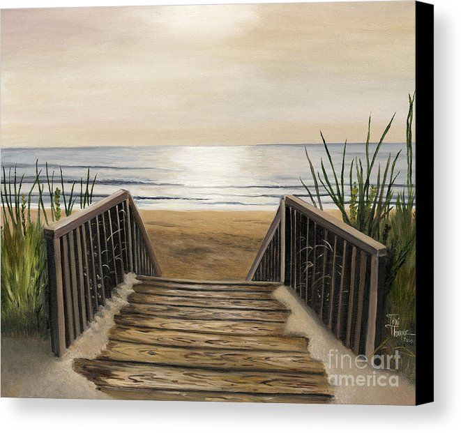 The Beach Canvas Print by Toni  Thorne.  All canvas prints are professionally printed, assembled, and shipped within 3 - 4 business days and delivered ready-to-hang on your wall. Choose from multiple print sizes, border colors, and canvas materials.