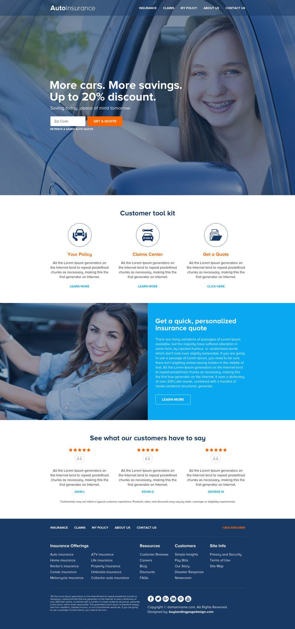 Auto Insurance Zip Capturing Responsive Website Design With