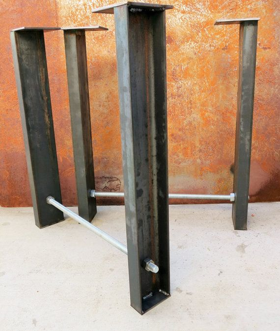 Industrial Metal Table Legs Set Of 2 Channel Threaded Rod